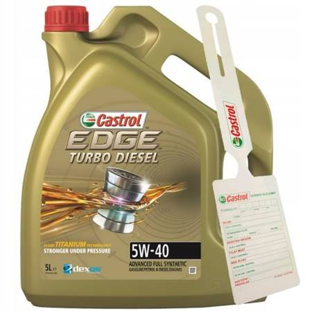Olej CASTROL EDGE TURBO DIESEL 5W40 5L + zawieszka